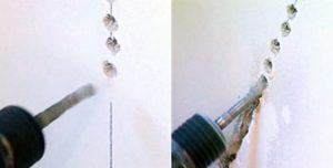 Изготовление штробы с помощью перфоратора