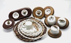 Ретро выключатели, розетки и кабель
