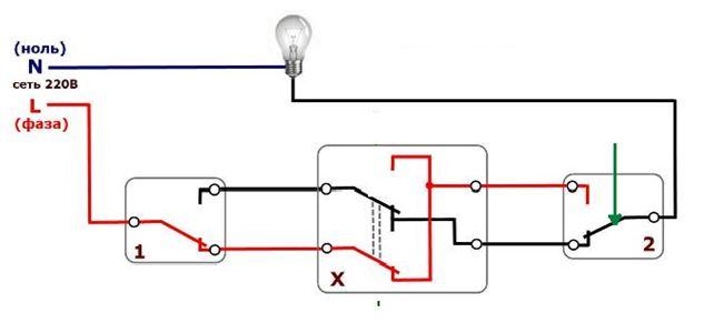 Перекрестный выключатель схема подключения