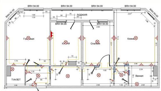 Примерная схема разводки электропроводки в доме