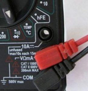 Условные обозначения для разъемов на электронном мультиметре