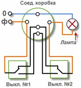 Схема подключения проходного выключателя с одноклавишного