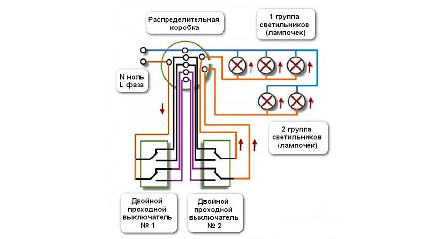 Схема подключения проходного выключателя двухклавишного