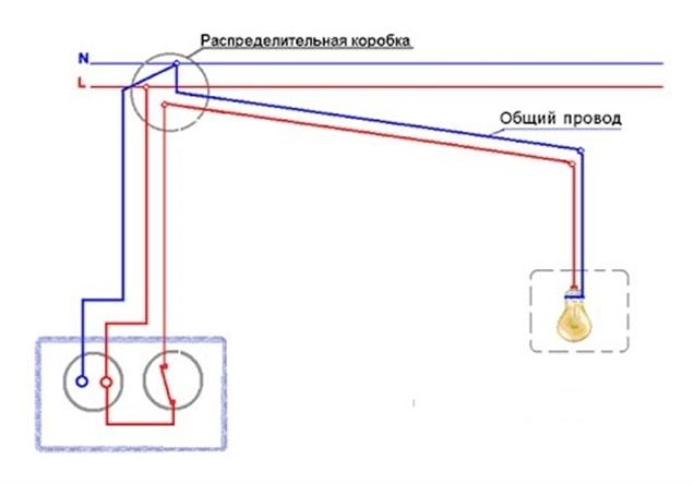 Схема для одноклавишного блока выключателя с розеткой
