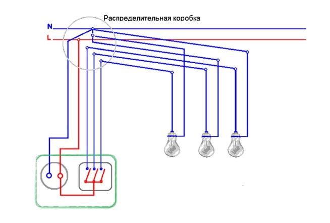 Как подключить тройной выключатель с розеткой видео