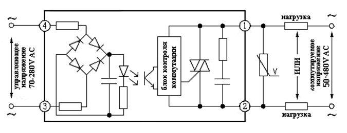 Схема твердотельного реле переменного тока