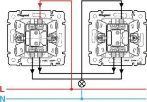 Схема подключения перекрестного выключателя
