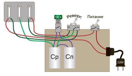 Подключение асинхронного двигателя с конденсатором