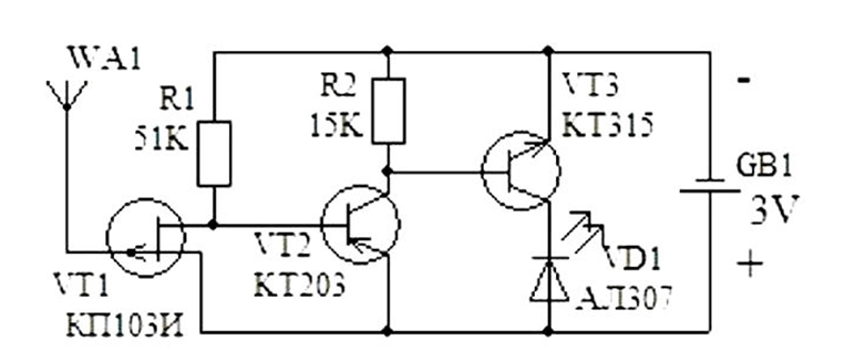 Схема искателяф обрыва провода