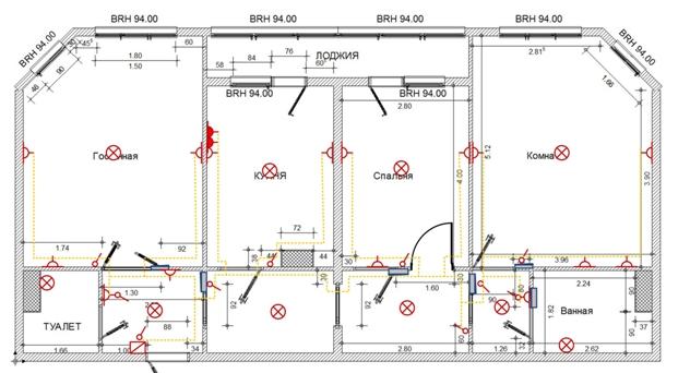 Принципиальная схема разводки электропроводки в квартире
