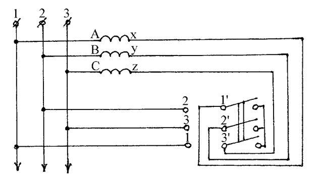 Схема переключения электрической цепи со звезды на треугольник
