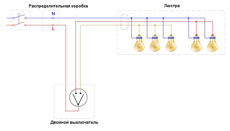Схема подключения люстры к двойному выключателю