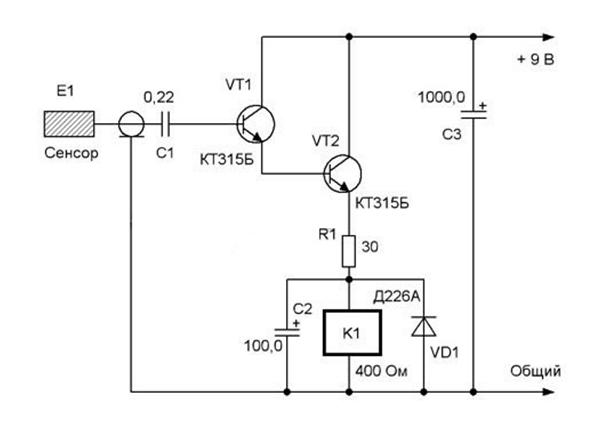 Схема простейшего сенсорного выключателя