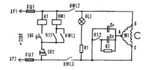 Схема подключения с применением магнитного пускателя