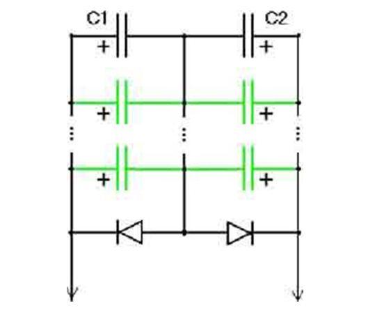 Схема для превращения полярного элемента в неполярный при больших мощностях