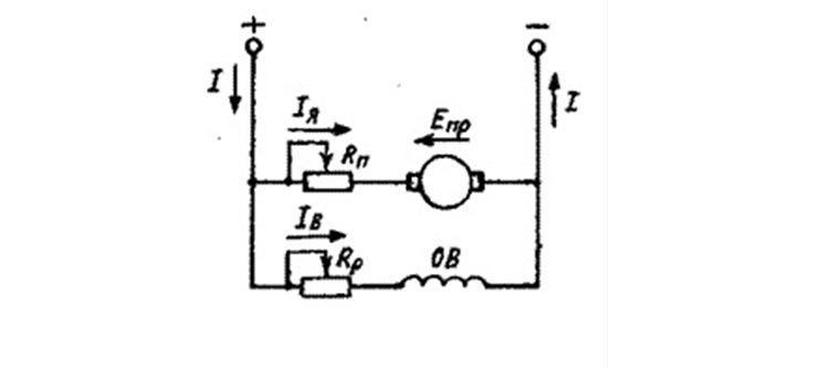 Принципиальная схема мотора постоянного тока с параллельным возбуждением