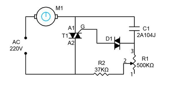 Схема регулятора оборотов вращения переменного тока