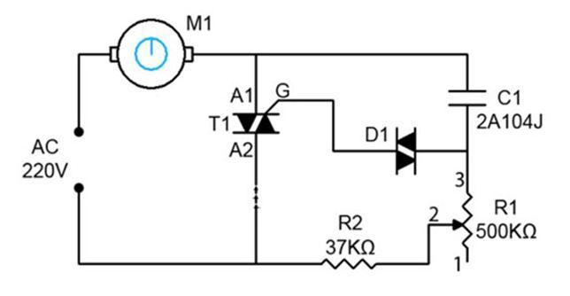 Схема регулятора для асинхронного двигателя с симистром