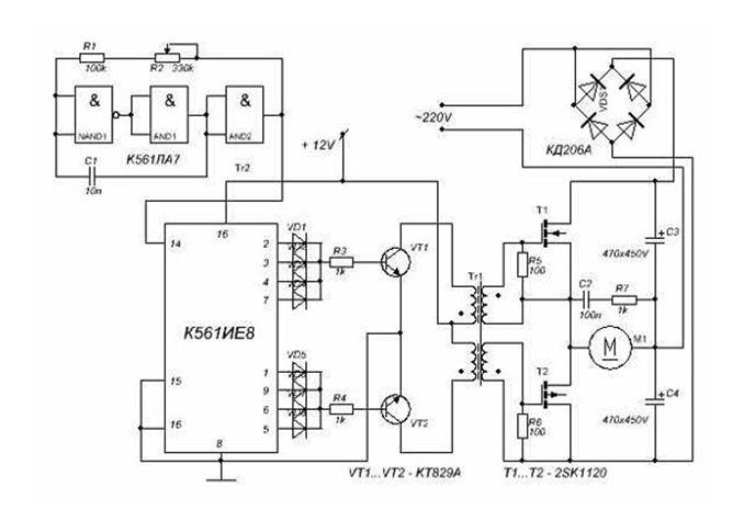 Схема мощного регулятора для асинхронного двигателя