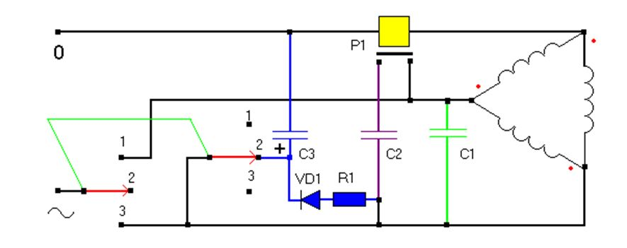 Cхема реверсного подключения электродвигателя на 380В