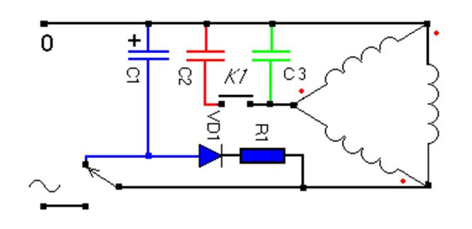 Схема подключения трехфазного двигателя с добавлением конденсатора