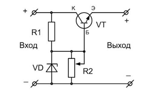 Схема стабилизатора постоянного тока