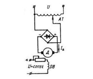 Схема подключения цепи якоря к источнику напряжения