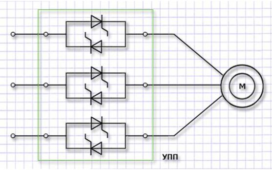 Схема плавного пуска электродвигателя