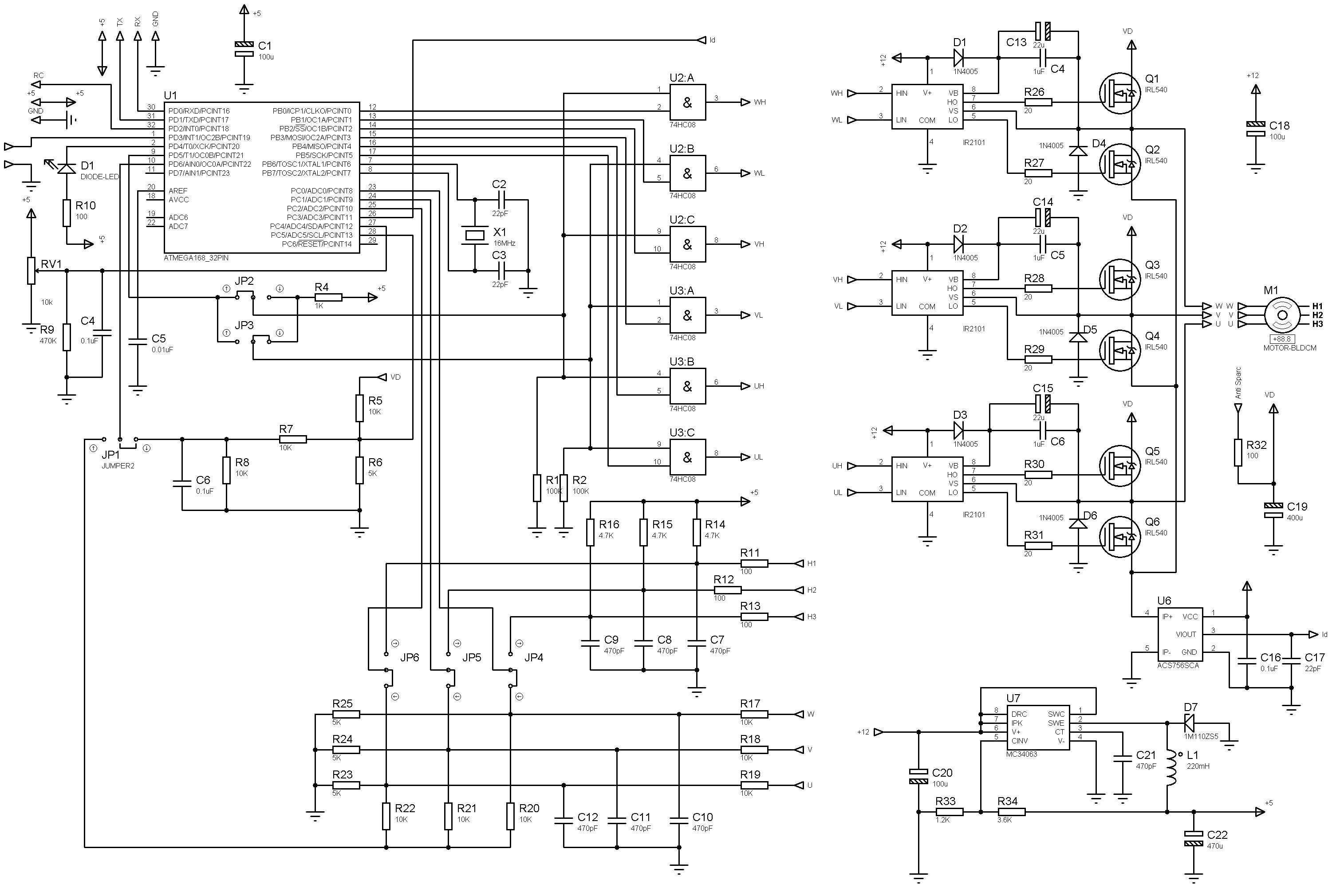 Схема регулятора для мощного двигателя