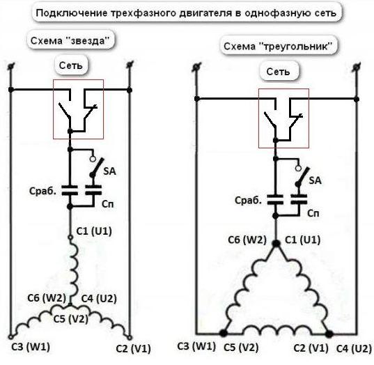 Схема включения трехфазного двигателя в однофазную сеть 912