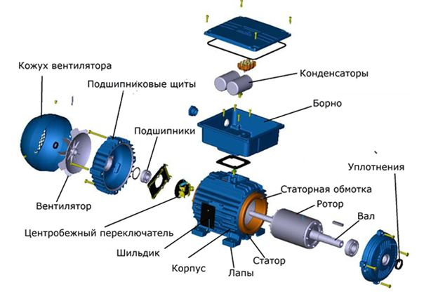 Устройство однофазного асинхронного двигателя