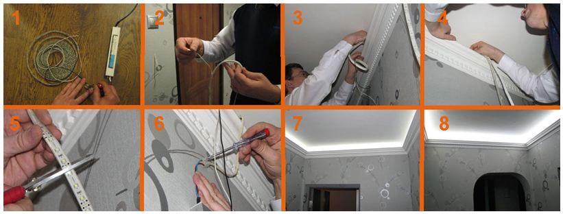 Алгоритм подключения светодиодной ленты к потолку