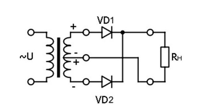 Самая простая двухполупериодная схема из двух однополупериодных