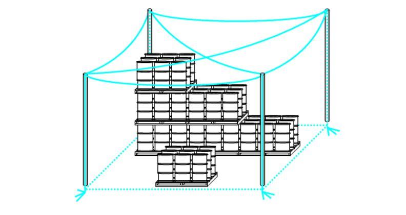 Схема молниезащиты в виде троссовой сетки