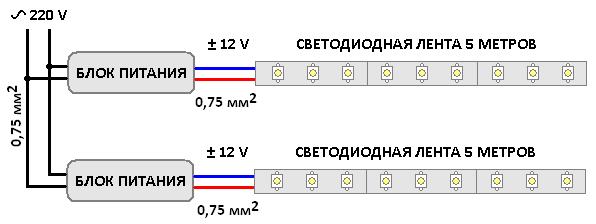 Подключение на два блока