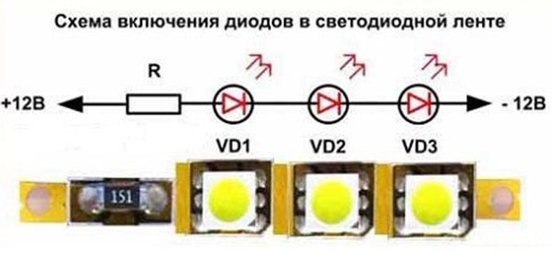 Схема включения диодов в светодиодной ленте