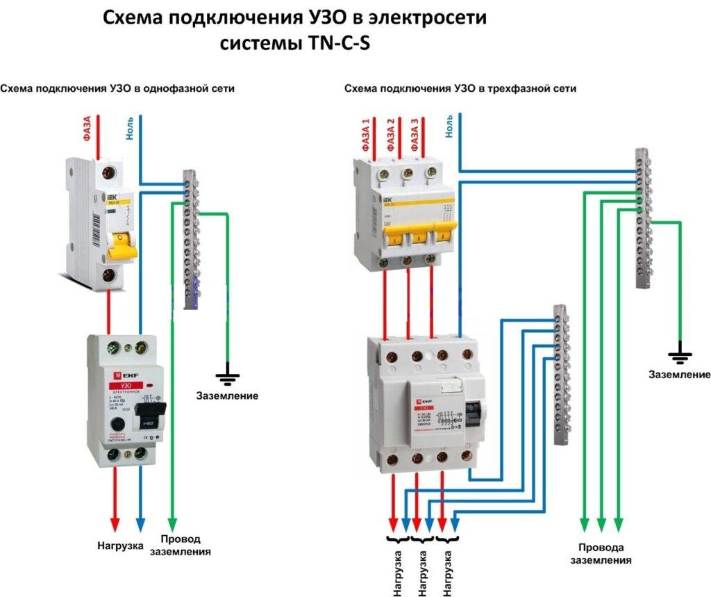 Схема подключения УЗО в электросети без нулевого защитного проводника