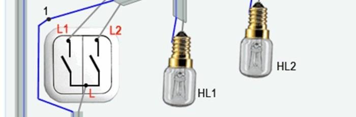 Схема подключения двойного выключателя на две лампочки