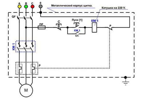 Нереверсивная схема для 380 вольтовых катушек