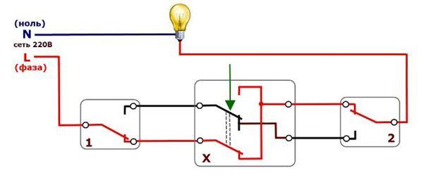 Переключаем переходной отсоединитель, лампа загорается