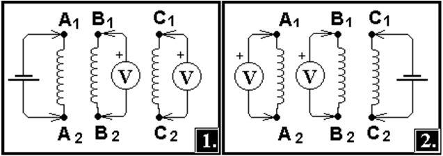 Батарейку с соблюдением полярности соединяем с концами с1-с2, а омметр – на а1-а2