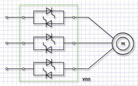Схема устройства плавного пуска