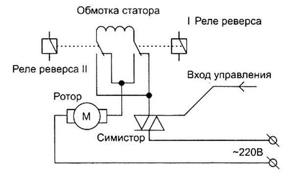Схема управления работой электродвигателя