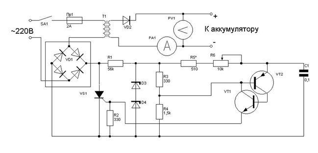 Зарядное устройство 24 вольт на тиристоре