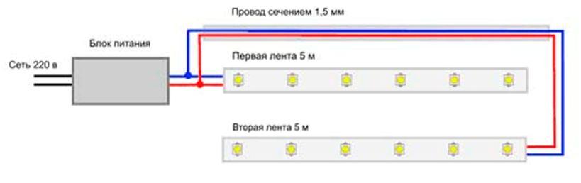 Питание параллельных участков осветителя от одного блока