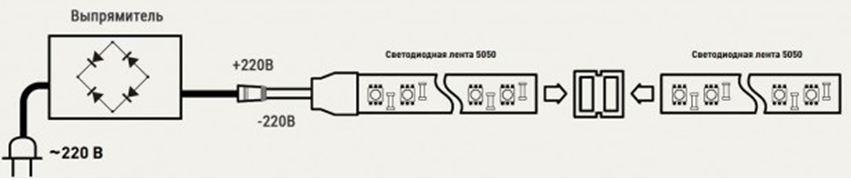 Схема подключения светодиодной ленты напрямую к 220 В